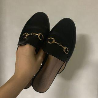 Black Buckle Mules / Slip Ons