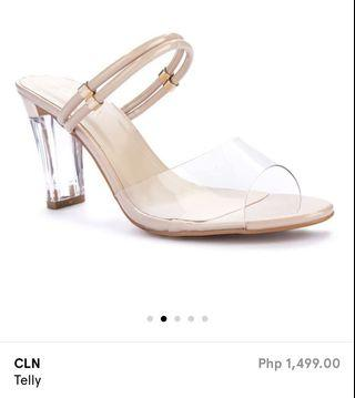 CLN telly. Beige / nude High heels. Transparent strap and Glass look heels.