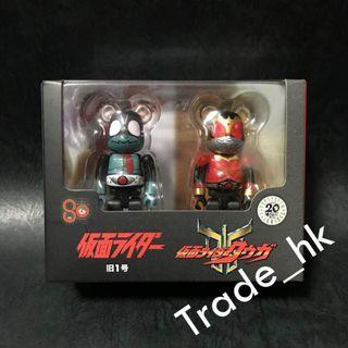 19年7月新貨!全新未開封 Medicom Toy Bearbrick Be@rbrick 100% 幪面超人 假面超人 Kamen Rider 舊一號 & 古迦 Set