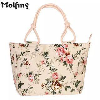 (PO) 2019 Fashion Folding Women Big Size Handbag Tote Ladies Casual Flower Printing Canvas Graffiti