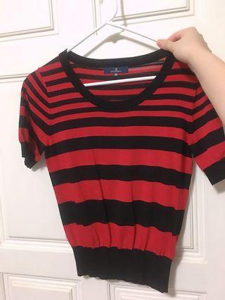 🚚 紅黑條紋上衣