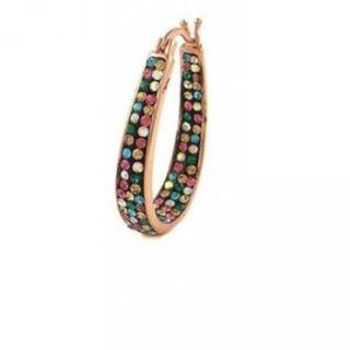 18K Rose Gold Plated Hoop Earrings Made with Swarovski Crystals