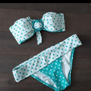 Brand New Victoria's Secret Aqua and White Polka Dot Bandeau Bikini XS