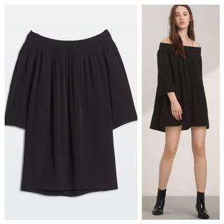 Aritzia Talula Off the Shoulder Black Dress XXS