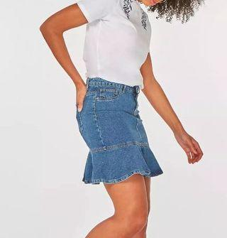BNWT Blue denim peplum skirt