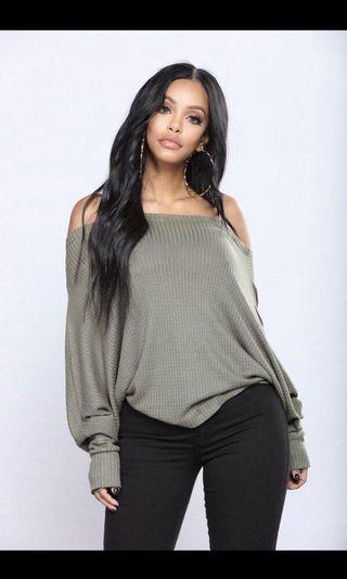 """Fashion Nova """"Off with his head"""" off shoulder pullover"""