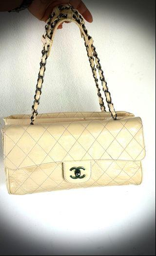 Authentic  Chanel Quilted Crackled Patent Leather The Ritz Shoulder Bag