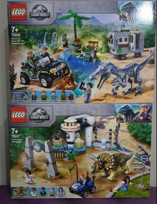 75935 and 75937 Lego Jurassic The Treasure hunt And Triceratops Rampage