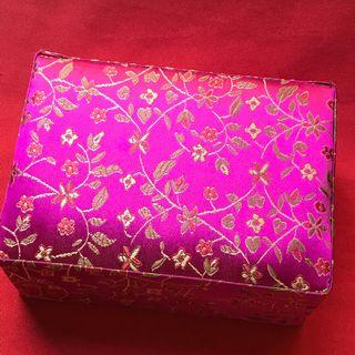Jewelry Box with Chinese silk design, plain bottom