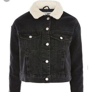 TOPSHOP DEmin Jacket with Faux Fur