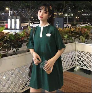 Ulzzang army green oversized tshirt dress