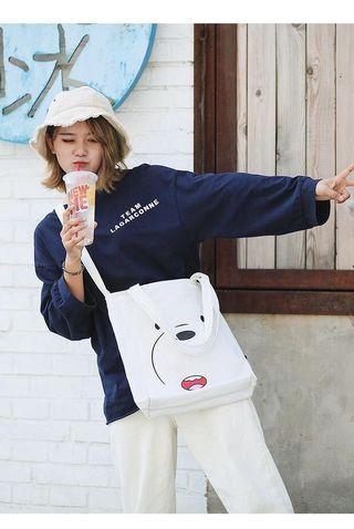 [ Shoulder Bag ] We Bare Bears Canvas Shopping Shoulder Sling Bag #webarebears #womenbags # fashion #slingbag #CarousellFaster