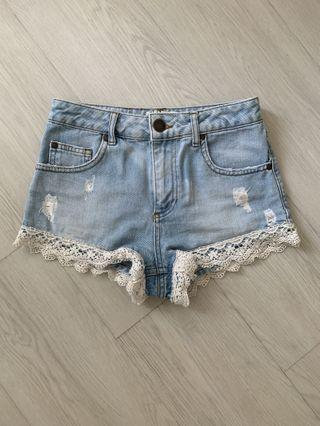 Miss Selfridge Lace Trim Shorts
