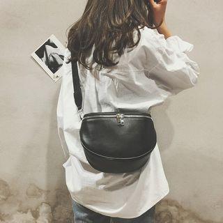 Korea Sling Shoulder Bag Black PU Leather Shoulder Bag Handbag Fashion Bag Girl