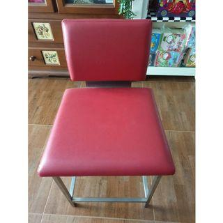 Red leather cosmetic chair metal