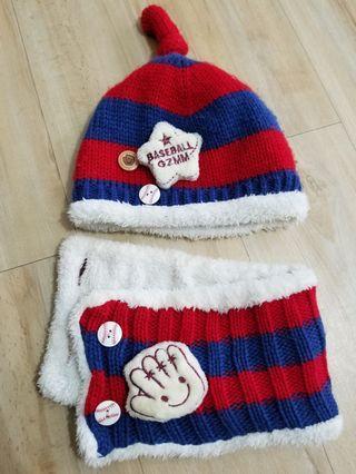 二手6~18m嬰幼兒毛帽+圍巾