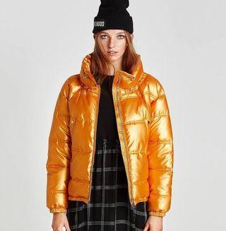 Zara Gold Metallic Puffer Jacket
