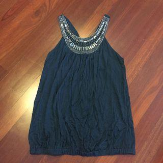 Forever 21 Beautiful Sea-Blue Racer Back Top Blouse