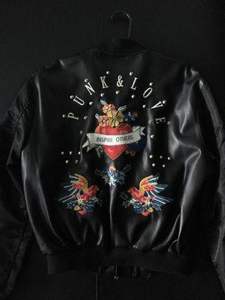 Zara leather studded embroid bomber jacket