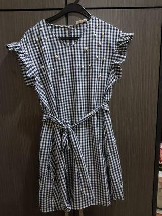 Free postage: P&Co Gingham dress with pearl