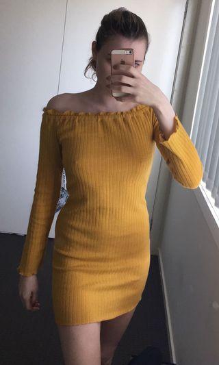 Mustard dress size M fits 8-10-12