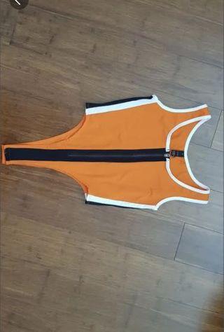 Bright orange bodysuit leotard