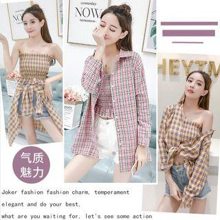 PO Women's Plaid Shirt Fashion Korean Long Sleeve Tops Two-piece set Jacket