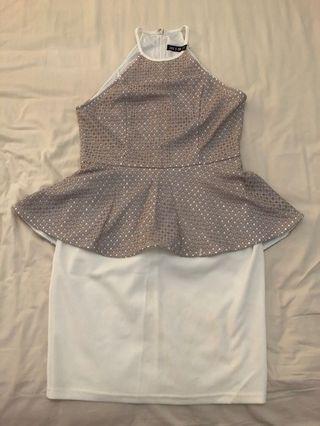 🚚 Printed & White Peplum Dress