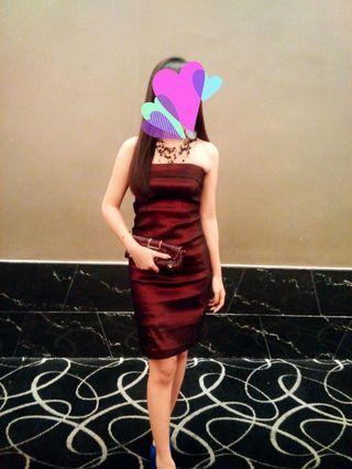 Maroon Tube Dress