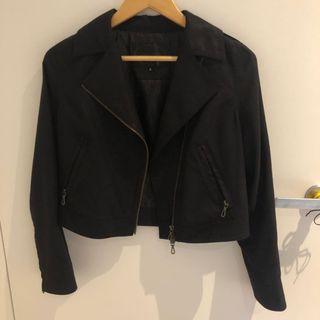 Faux Black Leather/ Suede Jacket