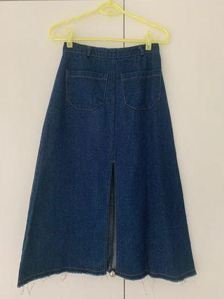 Korean denim midi skirt distressed