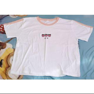 White and Pink Peach Graphic T-shirt