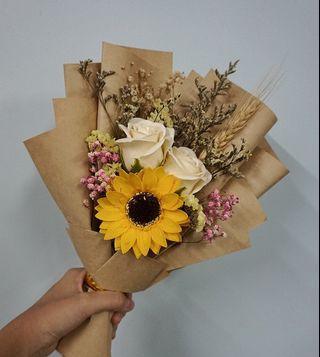 太陽花玫瑰乾花束