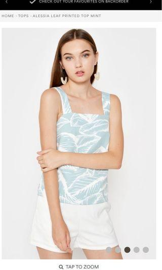 🚚 BN love and bravery alessia printed mint top