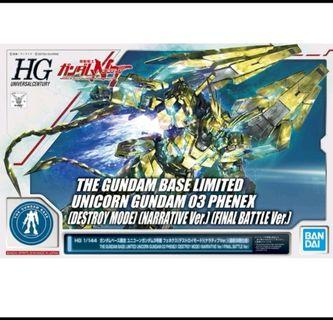 "Gundam Base Limited ""HG Unicorn Gundam 03 Phenex (Destroy Mode)"