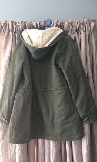 Khaki jacket with fleece hood