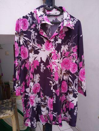 blouse Korean Flower purple