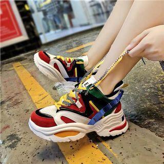 時尚撞色拼接增高板鞋