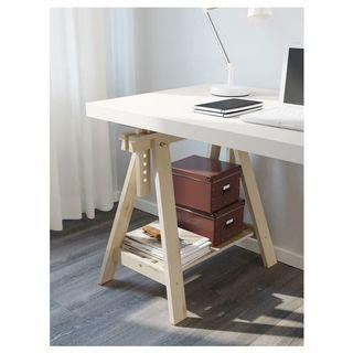 Ikea table with trestle legs and shelves
