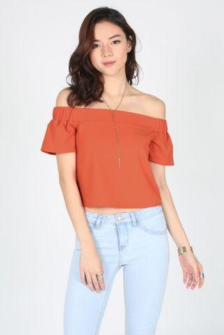 Love Bonito Ocyale Off Shoulder Top (Burnt orange)