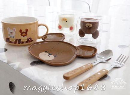 🐻The Bears' School🏫小熊學校立體杯碗碟叉匙羹四件套餐具🍴