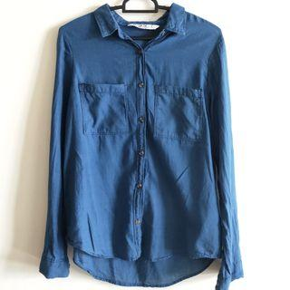 cotton on blue blouse