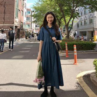 🚚 深藍雪紡襯衫長洋裝 #轉轉臉紅紅