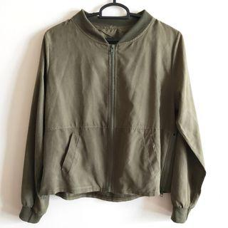 army green light bomber jacket
