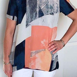 Aritzia Wilfred Silk Abstract Print Top Size XXS