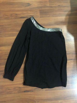 7 for All Mankind Black One Shoulder Asymmetrical Blouse