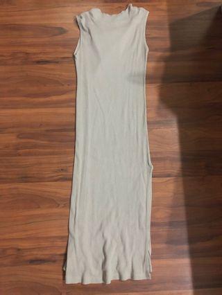 Long Nude Beige Ribbed Dress
