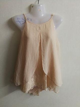 Miss Selfridge peach lace top