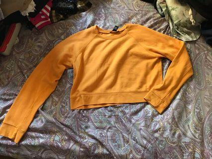 Forever 21 Mustard Yellow Cropped Sweater Pullover