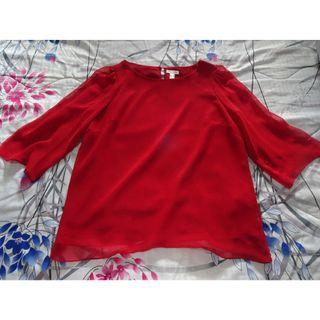 🚚 Colette red long-sleeved chiffon blouse UK 18
